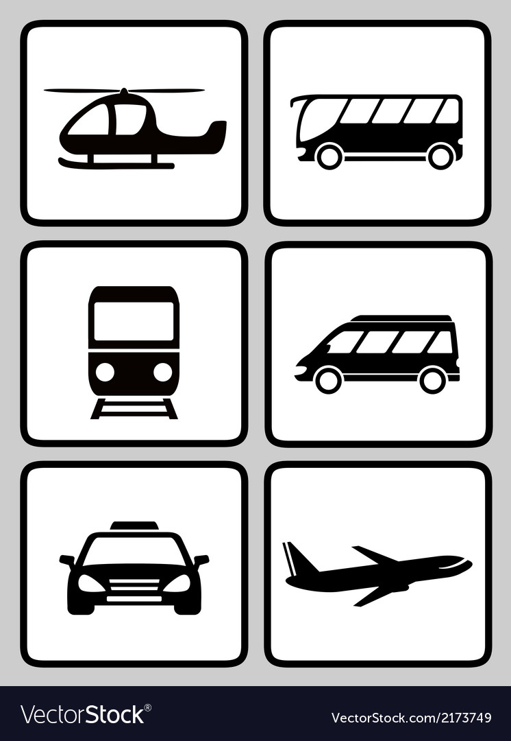Set icons with transport black silhouette vector | Price: 1 Credit (USD $1)