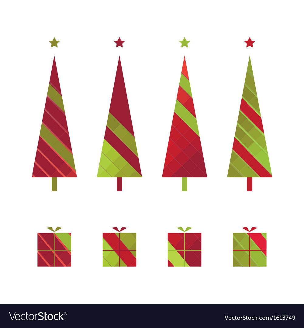 Set of christmas trees and gift boxes vector | Price: 1 Credit (USD $1)