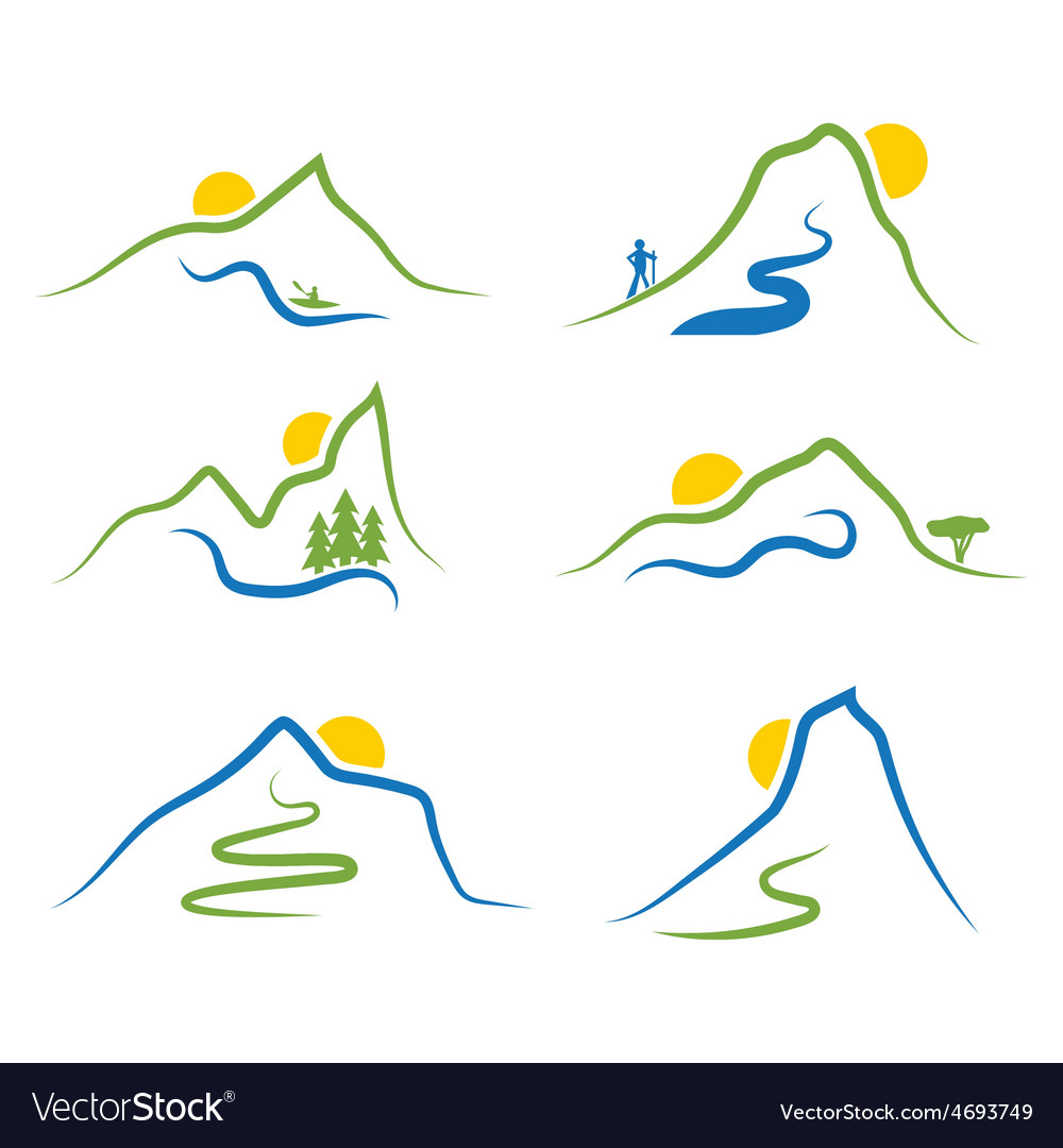 Set of mountainstrees and sun vector | Price: 1 Credit (USD $1)