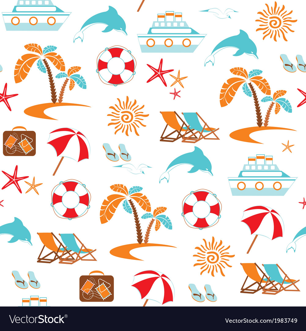 Summer vacation seamless pattern vector | Price: 1 Credit (USD $1)