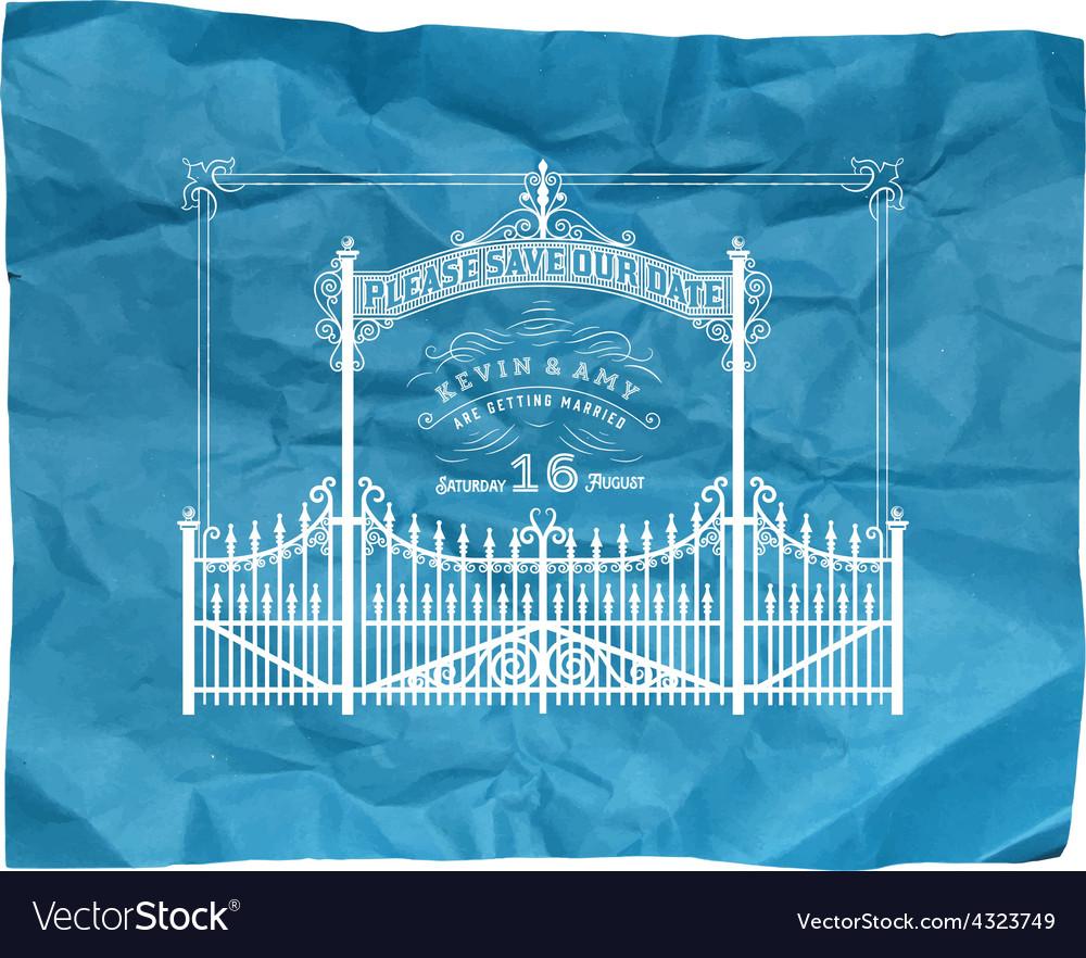 Wedding invitation vintage card with vector | Price: 1 Credit (USD $1)