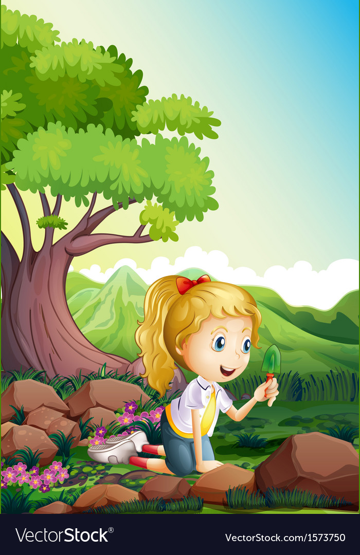 A girl at the forest holding a shovel vector | Price: 3 Credit (USD $3)