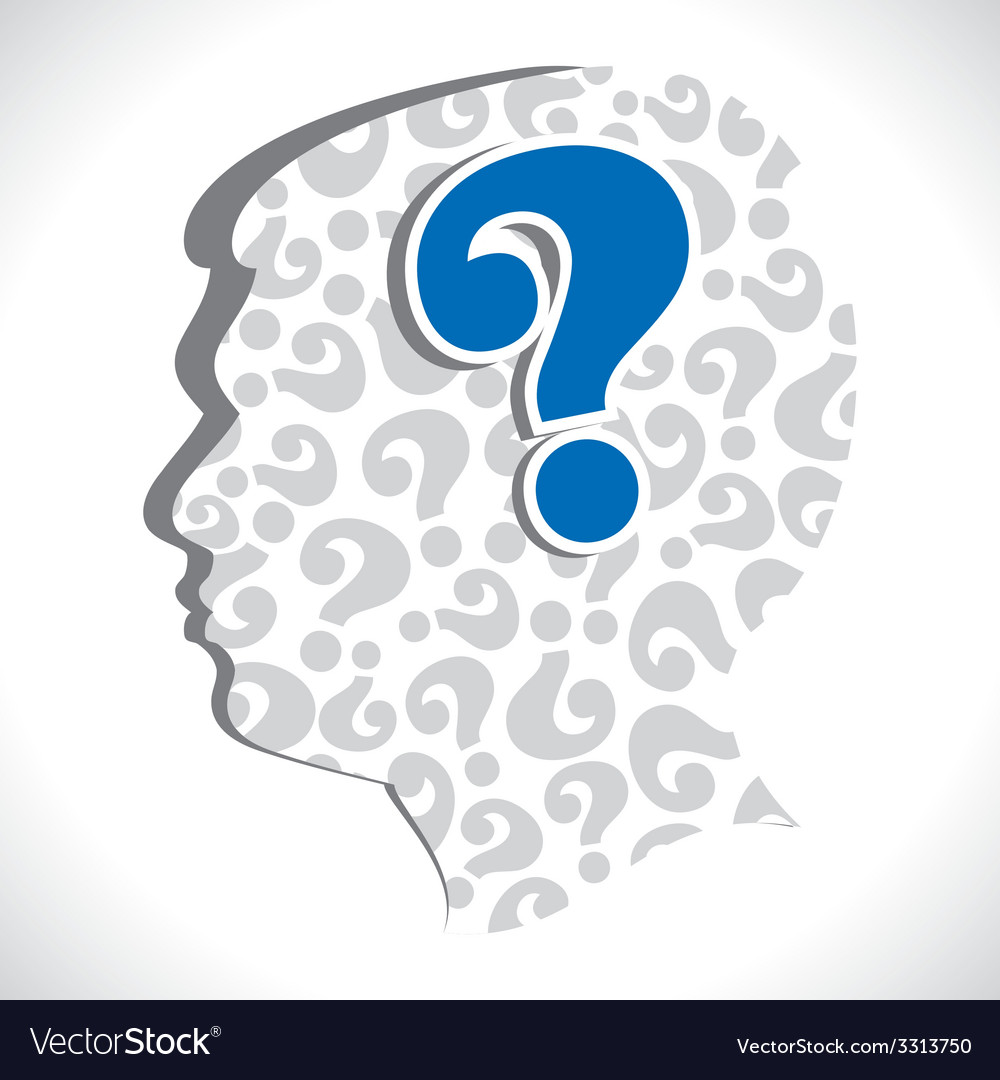 Big question mark in head vector | Price: 1 Credit (USD $1)