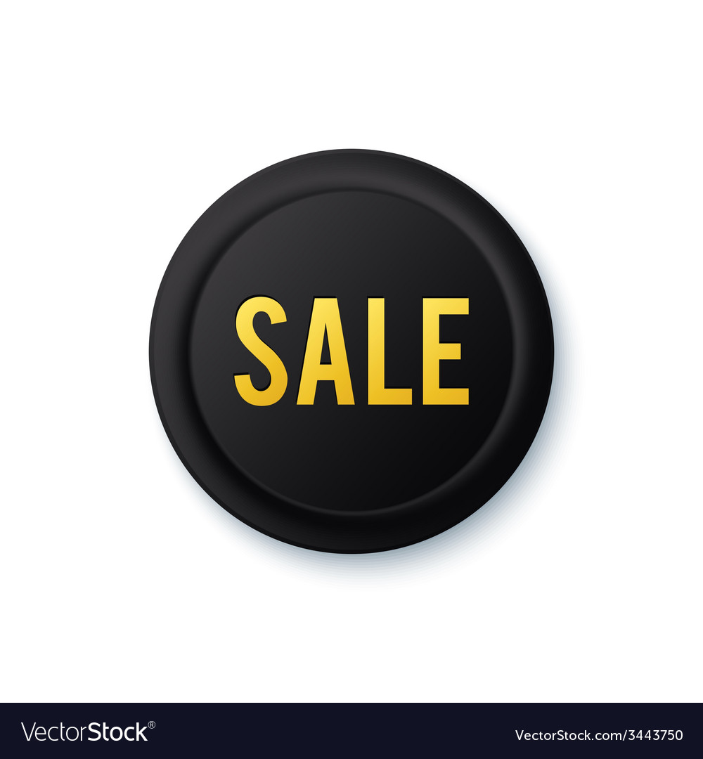 Black round sale sticker with golden letters vector   Price: 1 Credit (USD $1)