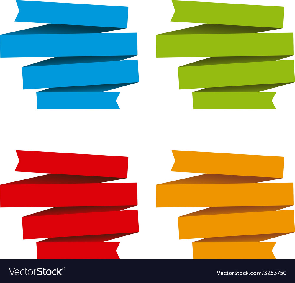 Folded ribbons banners differents colors vector   Price: 1 Credit (USD $1)