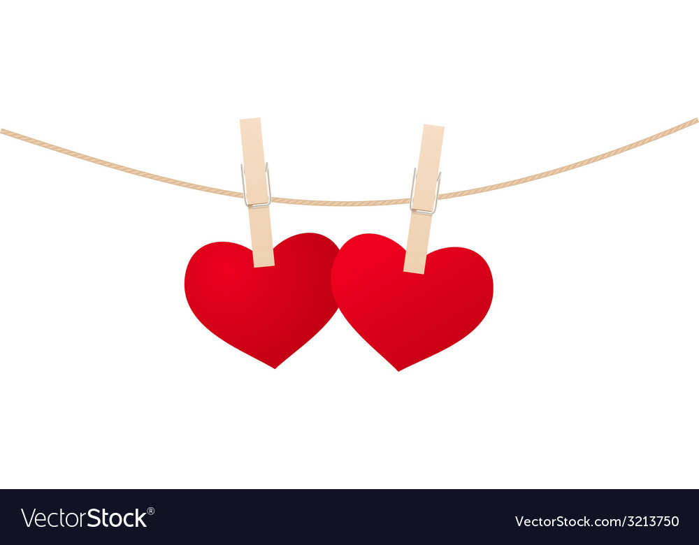 Hearts clothespins 02 vector | Price: 1 Credit (USD $1)