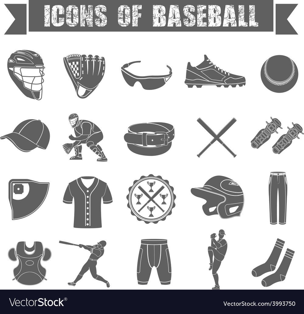 Set of icons of baseball vector | Price: 1 Credit (USD $1)