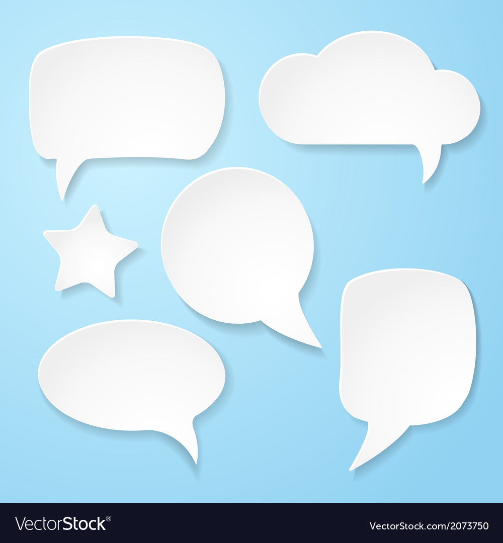Set of white paper speech bubbles vector | Price: 1 Credit (USD $1)