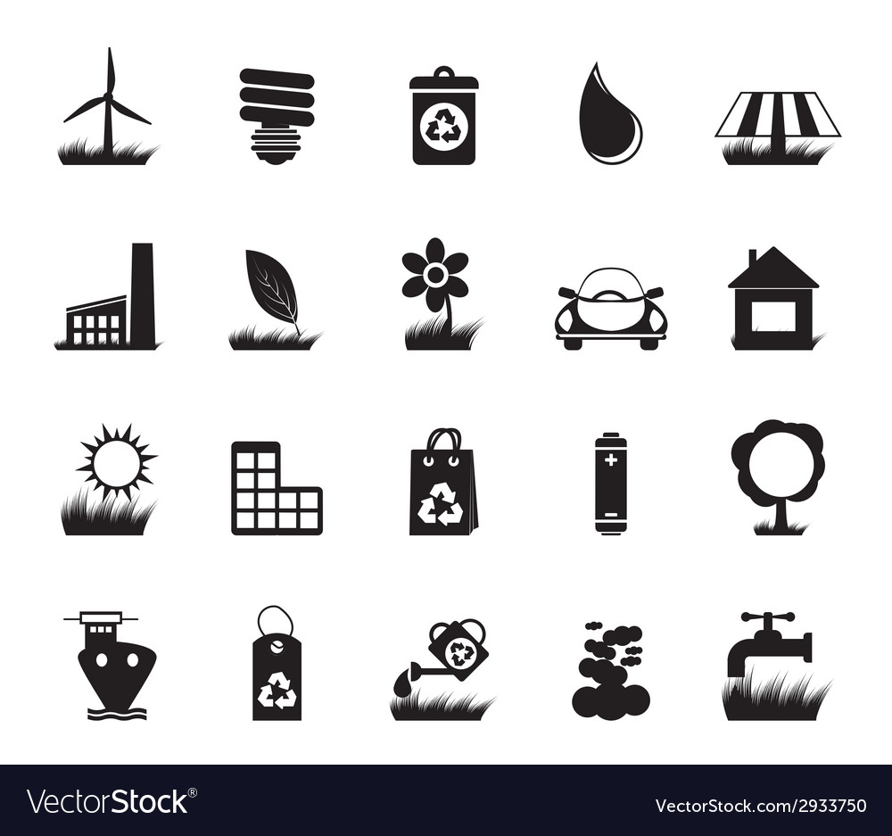 Silhouette ecology and nature icons vector | Price: 1 Credit (USD $1)