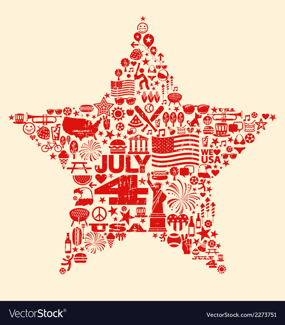 4th of july icons symbols collage t-shirt design vector | Price: 1 Credit (USD $1)