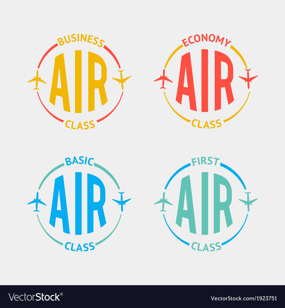 Airplane flight badges in flat style vector | Price: 1 Credit (USD $1)