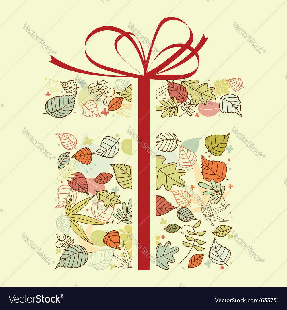 Autumnal gift with colorful leaves for seasonal de vector   Price: 1 Credit (USD $1)