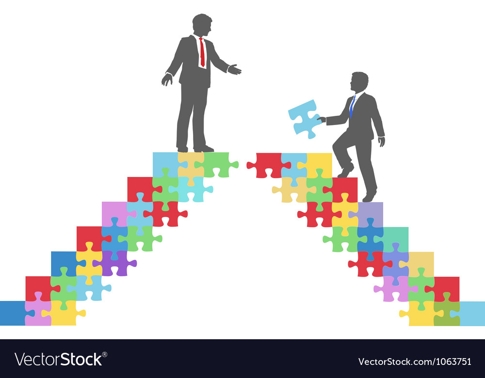 Business people join connect puzzle bridge vector | Price: 1 Credit (USD $1)