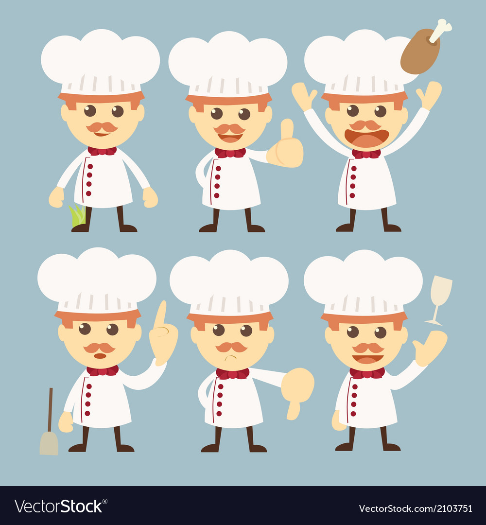 Chef character set cartoon vector | Price: 1 Credit (USD $1)