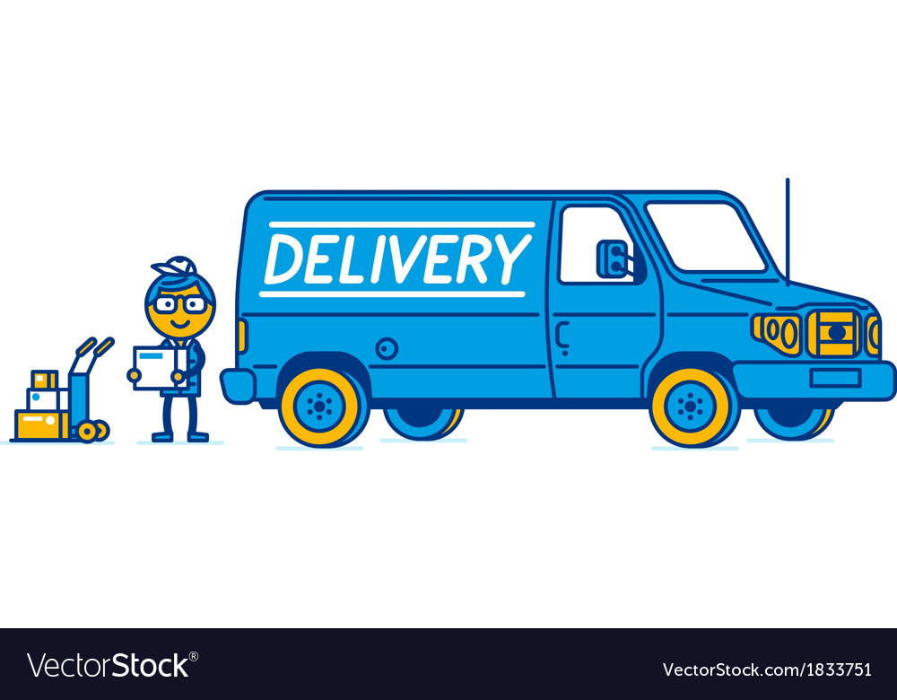 Delivery van and delivery man vector | Price: 1 Credit (USD $1)
