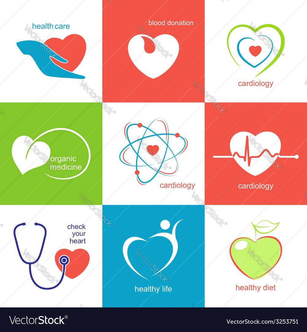 Health care heart icons vector