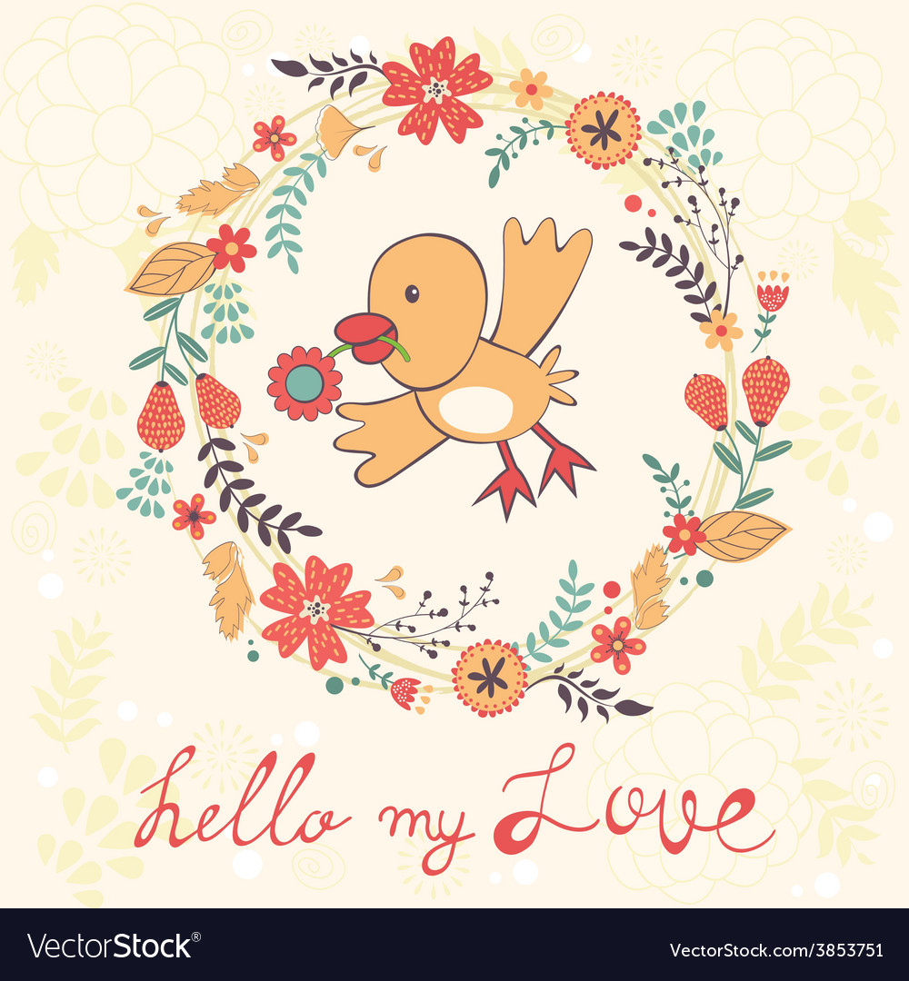 Hello my love card with bird vector | Price: 1 Credit (USD $1)