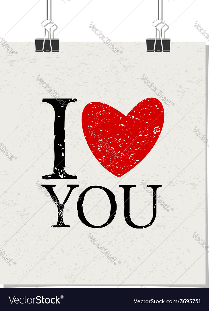 I love you vintage text design poster paper clips vector | Price: 1 Credit (USD $1)