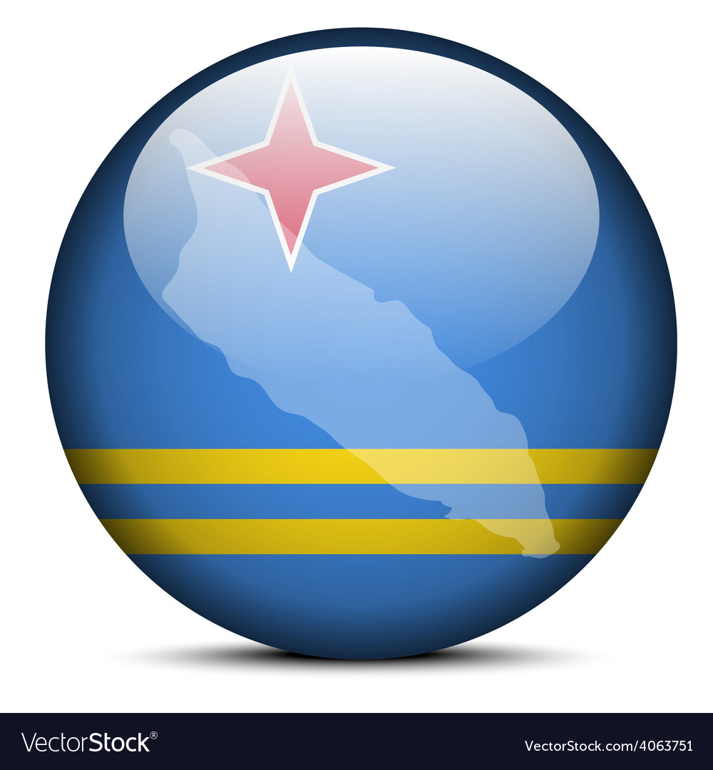 Map on flag button of aruba vector | Price: 1 Credit (USD $1)