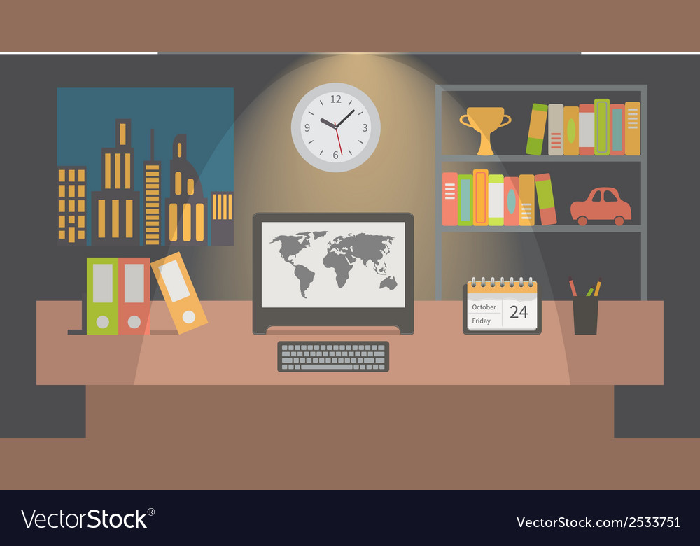 Office workspace interior nighttime flat vector | Price: 1 Credit (USD $1)