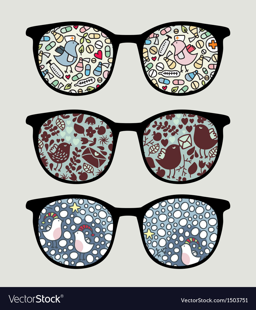 Retro sunglasses with funny birds reflection vector | Price: 1 Credit (USD $1)