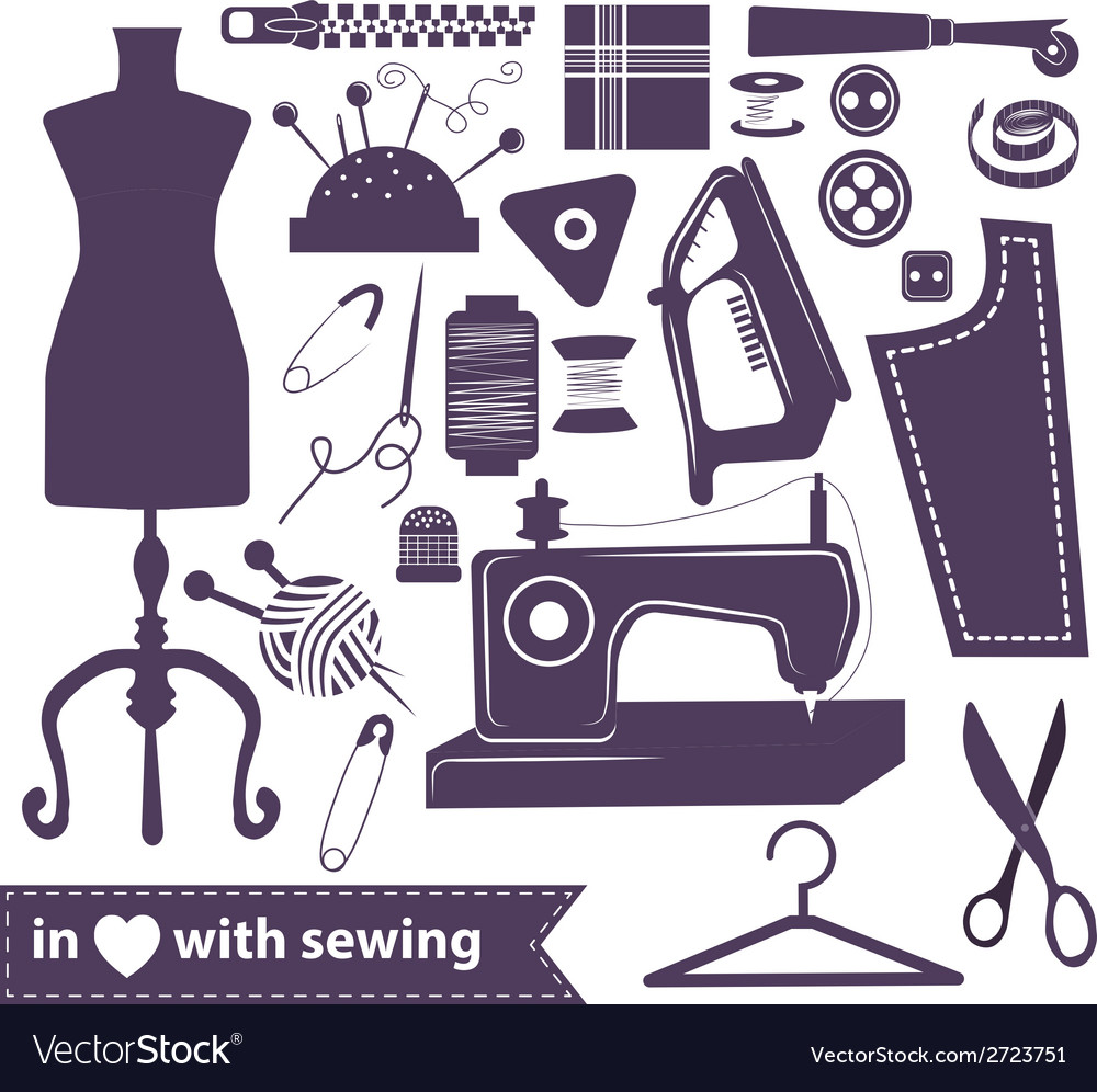 Sewing related elements over white vector | Price: 1 Credit (USD $1)