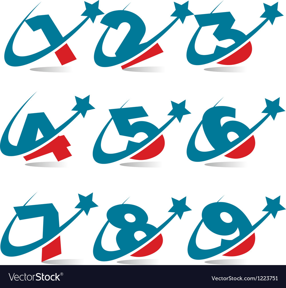 Swoosh patriotic numbers vector | Price: 1 Credit (USD $1)