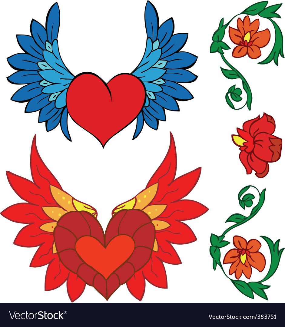 Valentine set tattoo and renaissance vector | Price: 1 Credit (USD $1)