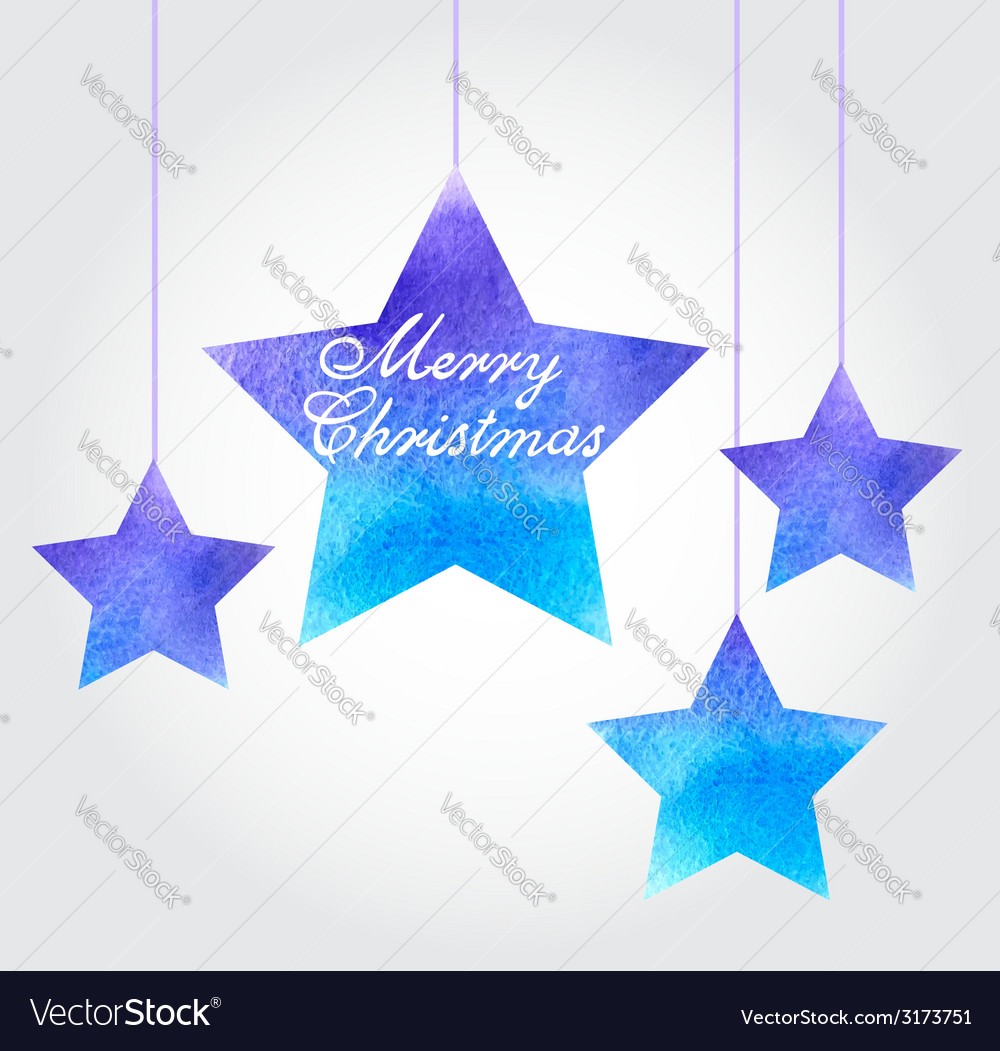 Watercolor christmas background with blue stars vector | Price: 1 Credit (USD $1)
