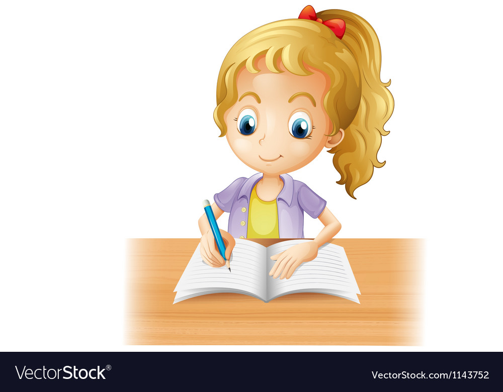 A long-haired girl writing vector | Price: 1 Credit (USD $1)