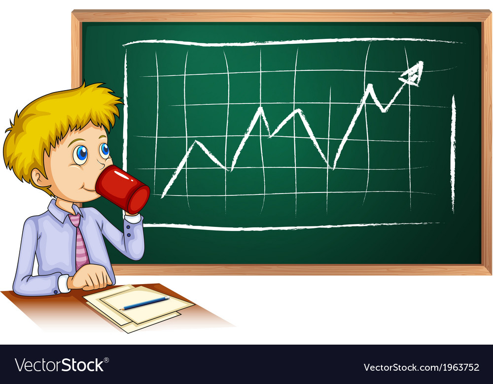 A man drinking coffee in front of the blackboard vector | Price: 1 Credit (USD $1)