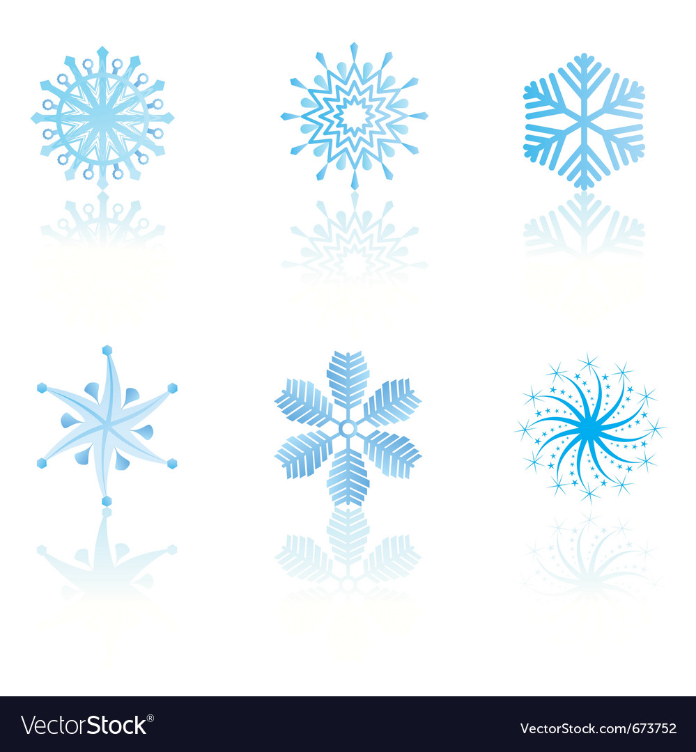 Beautiful cold crystal gradient snowflakes vector | Price: 1 Credit (USD $1)