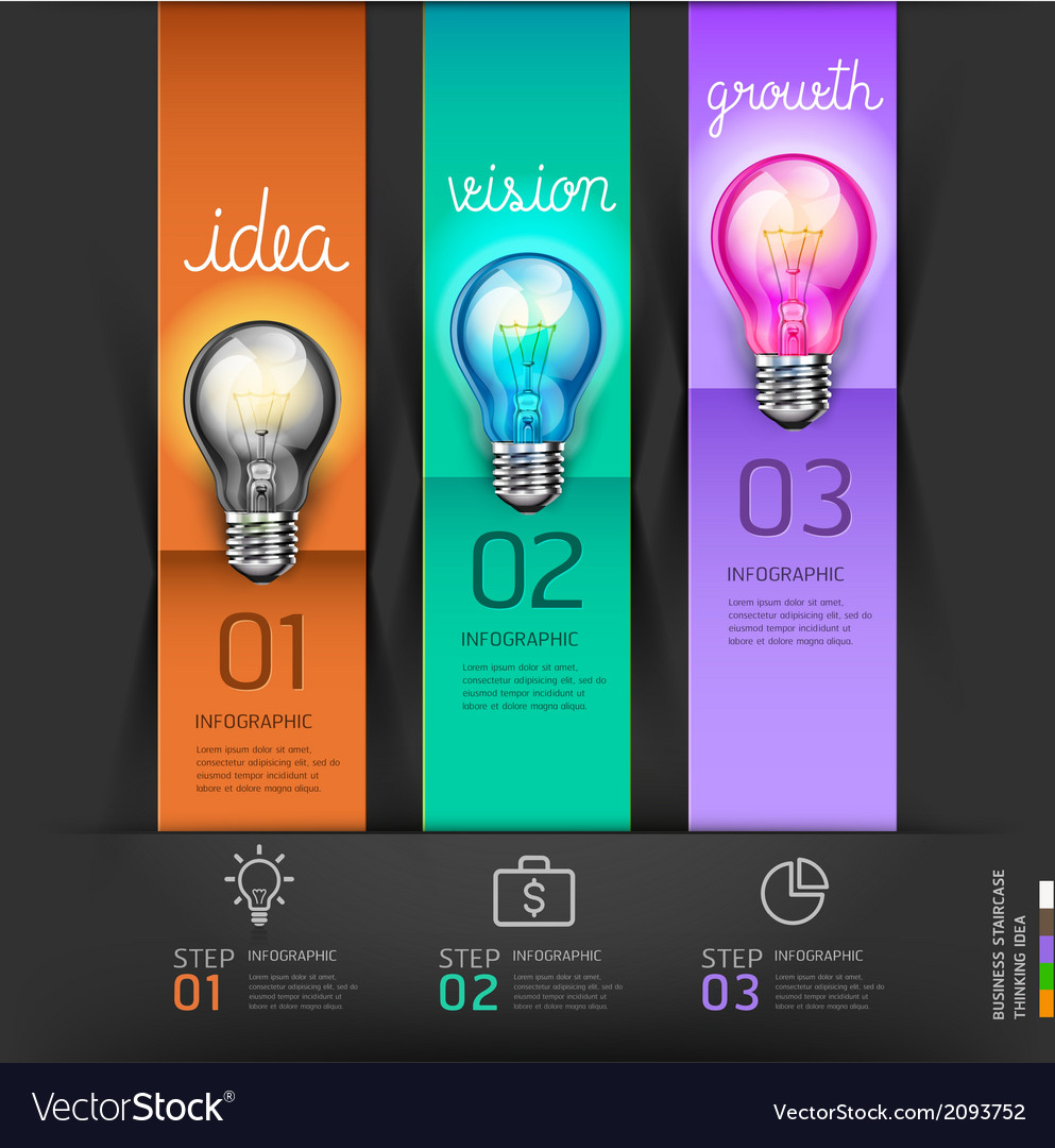 Business lightbulb stair thinking solution idea vector | Price: 1 Credit (USD $1)