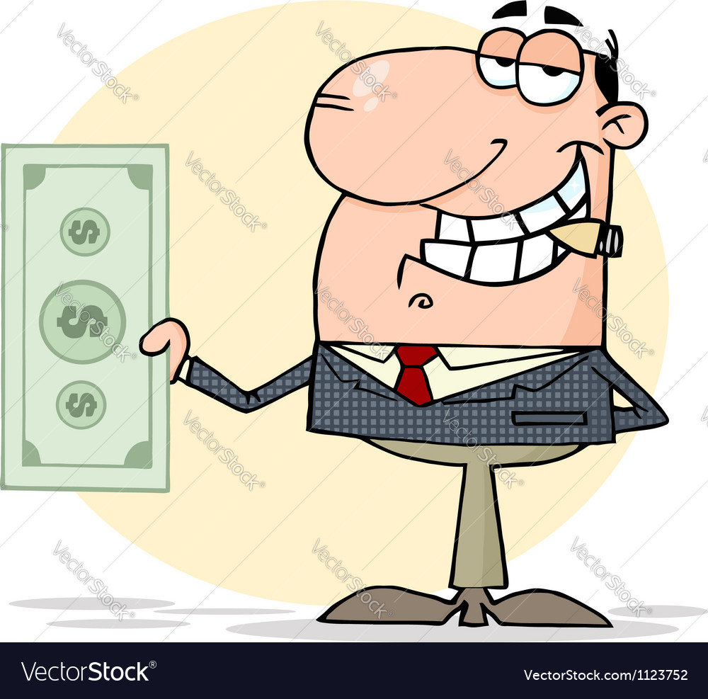 Businessman shows big dollar vector | Price: 1 Credit (USD $1)