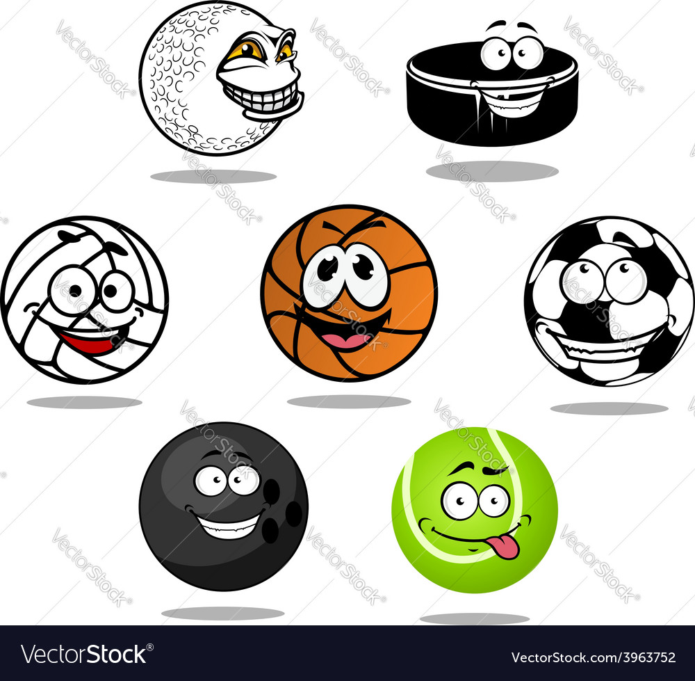 Cartoon game balls characters vector | Price: 1 Credit (USD $1)