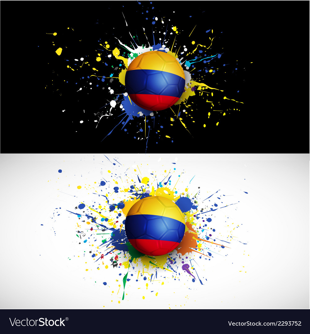 Colombia flag with soccer ball dash on colorful vector | Price: 1 Credit (USD $1)