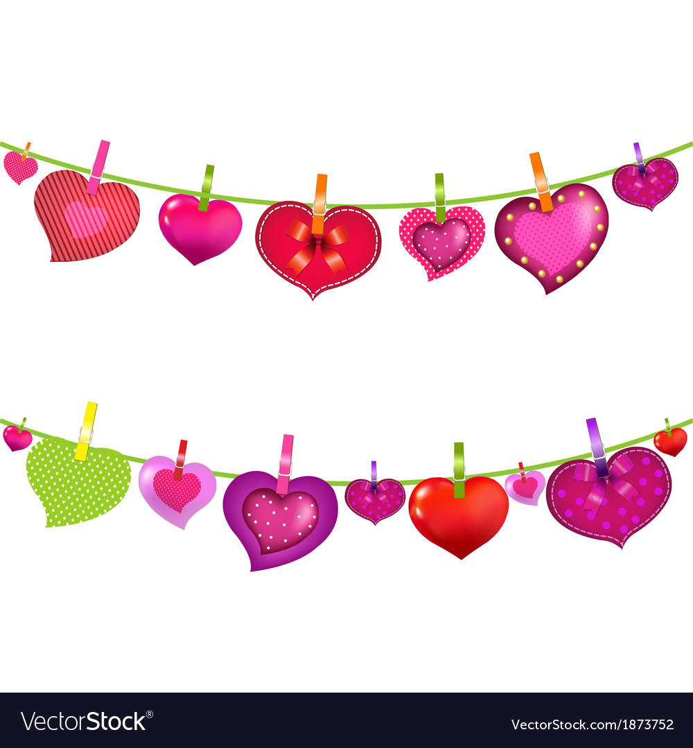 Color hearts on clothespegs vector | Price: 1 Credit (USD $1)