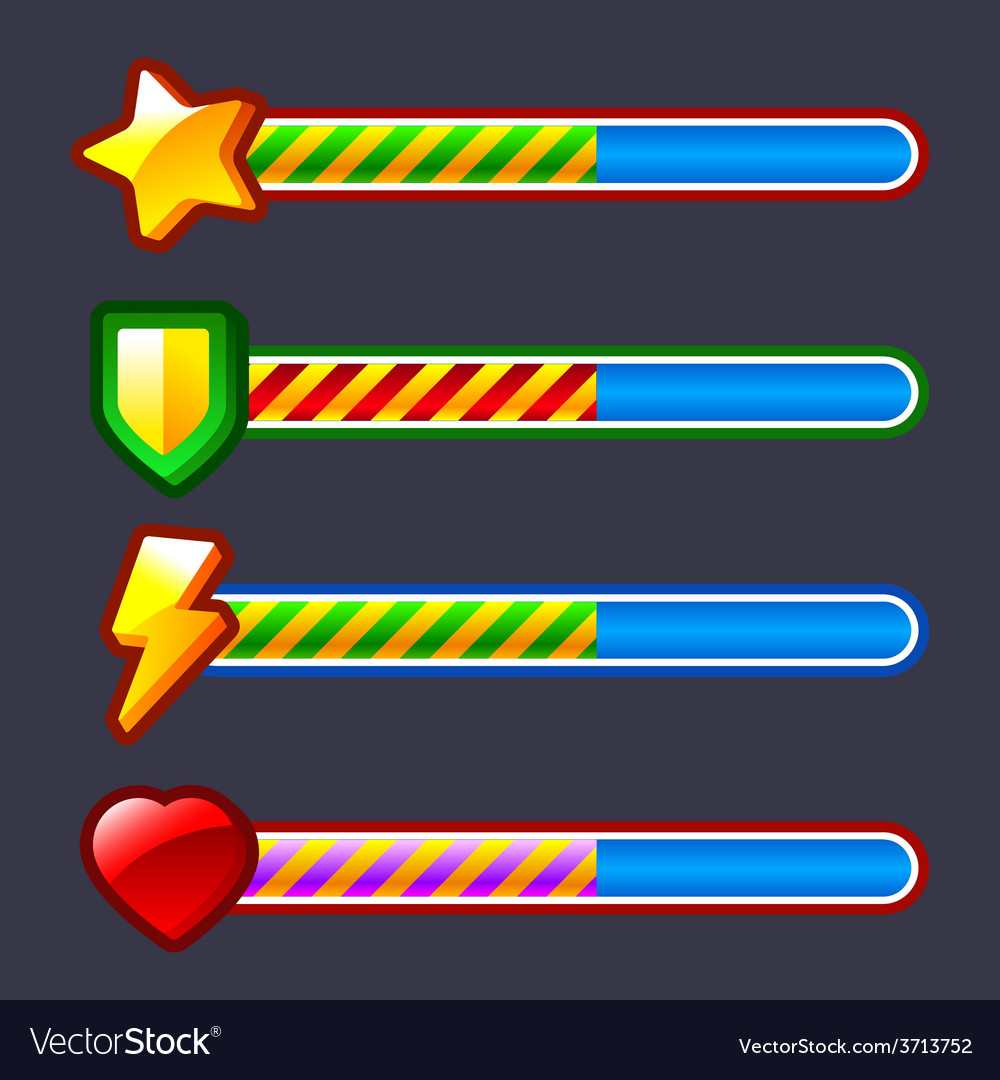 Energy progress loading game bar set vector | Price: 1 Credit (USD $1)