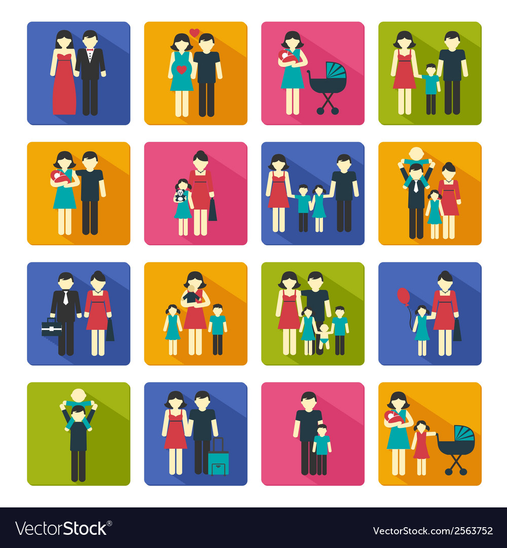 Family icons set flat vector | Price: 3 Credit (USD $3)