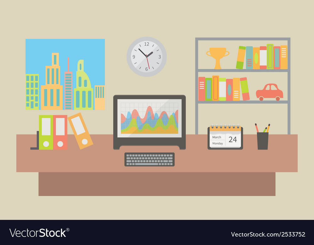 Office workspace interior flat vector | Price: 1 Credit (USD $1)