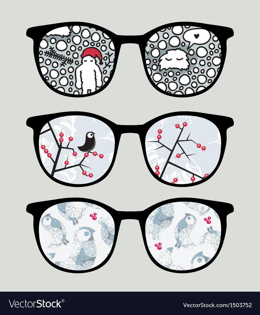 Retro sunglasses with cold winter reflection vector | Price: 1 Credit (USD $1)
