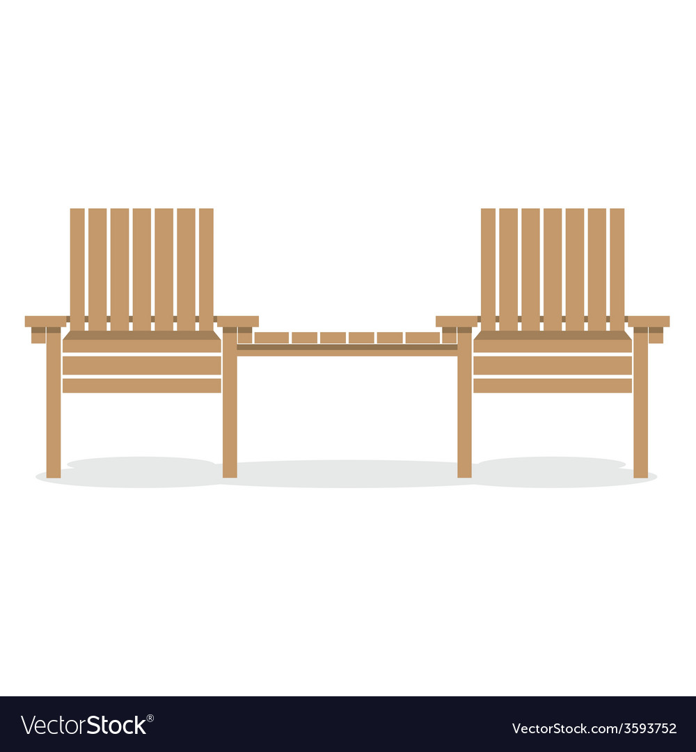 Wooden garden chairs with table vector | Price: 1 Credit (USD $1)