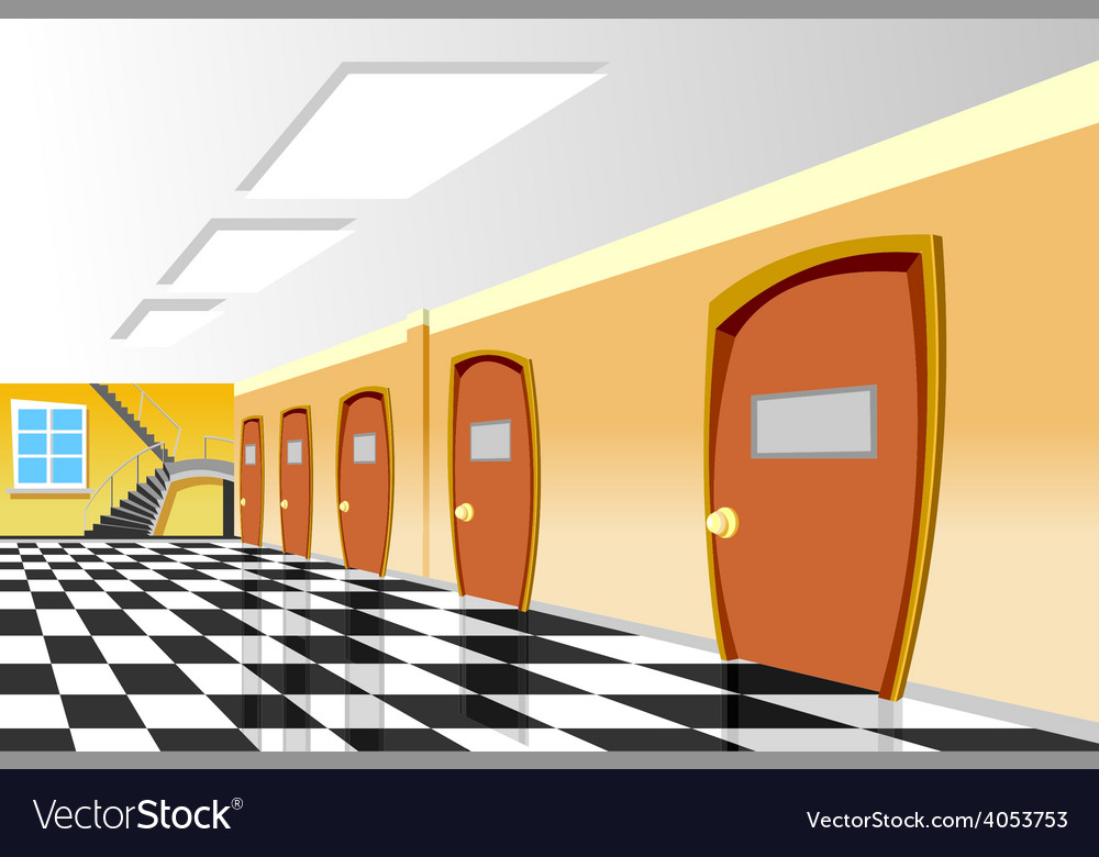 Cartoon interior corridor curve school vector | Price: 3 Credit (USD $3)