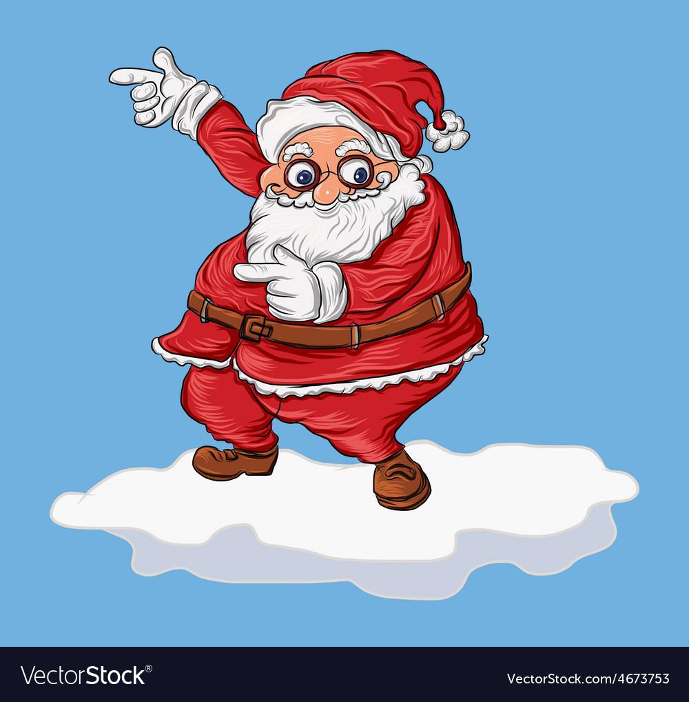 Cartoon santa on snow vector   Price: 1 Credit (USD $1)