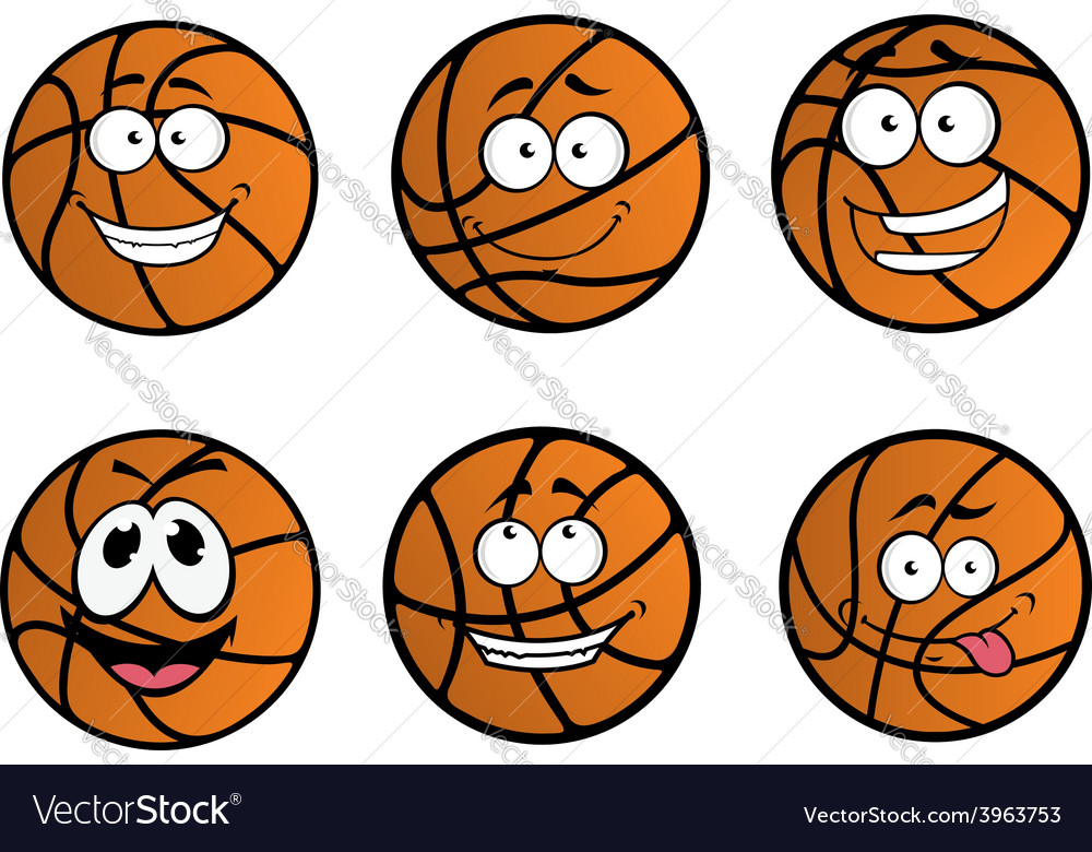Cartooned basketball ball characters vector | Price: 1 Credit (USD $1)