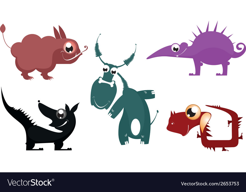 Fantastic cartoon animals vector | Price: 1 Credit (USD $1)