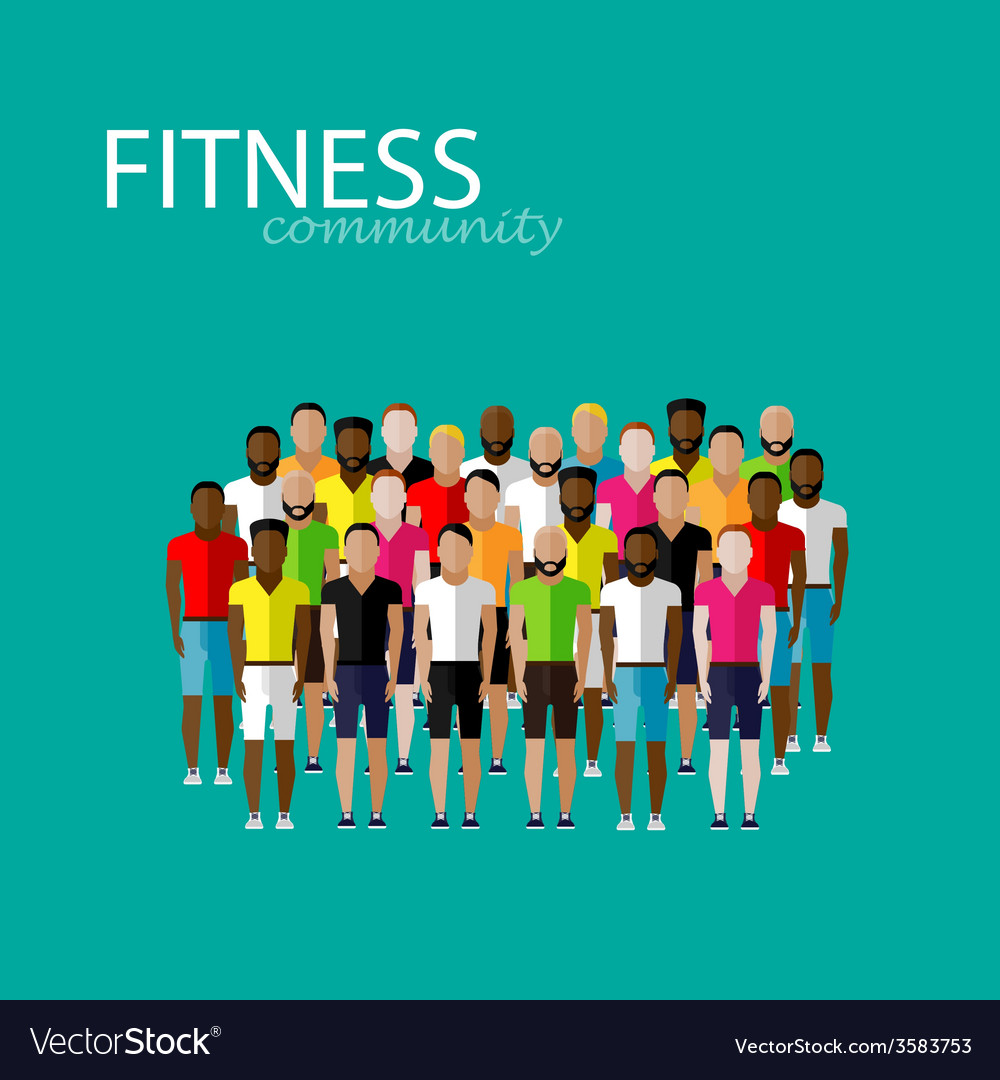 Flat of a large group of men fitness community vector   Price: 1 Credit (USD $1)