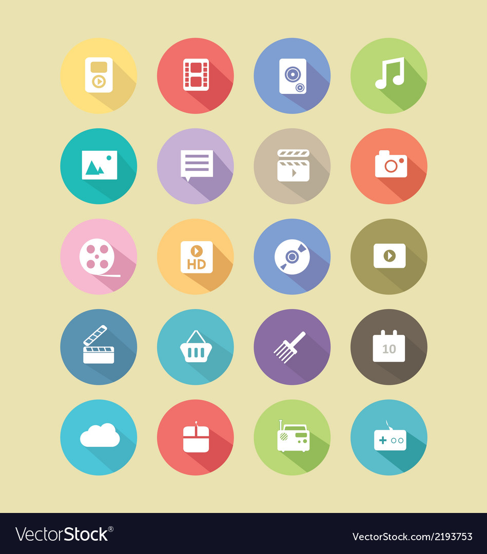 Long shadow button icons vector | Price: 1 Credit (USD $1)
