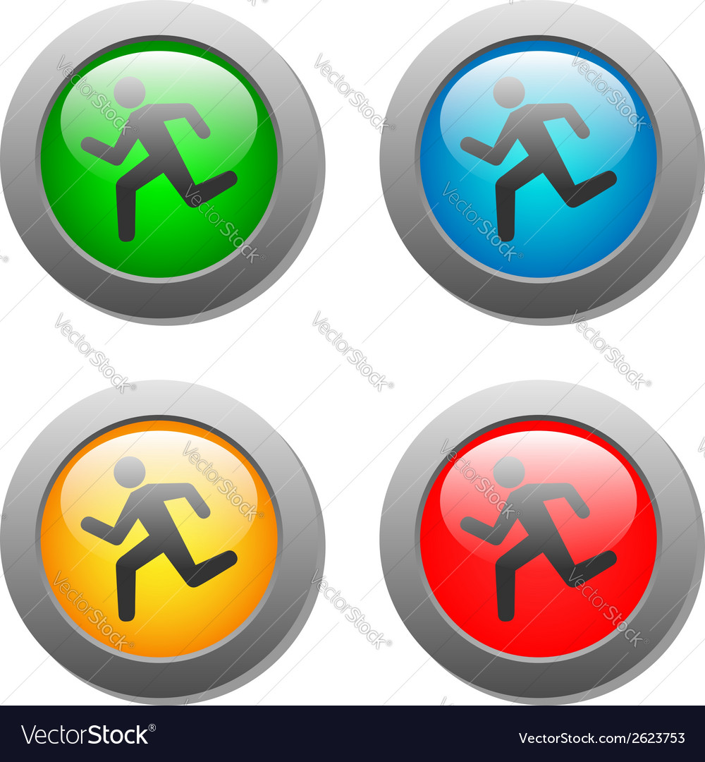 Running man icon on buttons vector | Price: 1 Credit (USD $1)