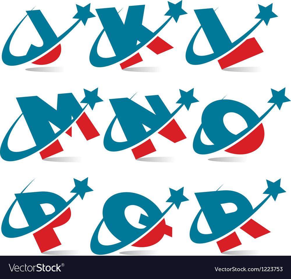 Swoosh patriotic alphabet set 2 vector | Price: 1 Credit (USD $1)